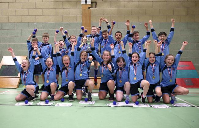 Cheer we go - Lower Darwen Primary School celebrate winning the Blackburn with Darwen Primary Schools Sportshall Athletics title For more photos go to: www.kipax.com