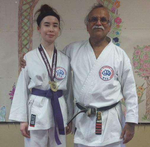 Karate student Anica Kelly, 15, from Nelson with Sensei Khurshid Ismail