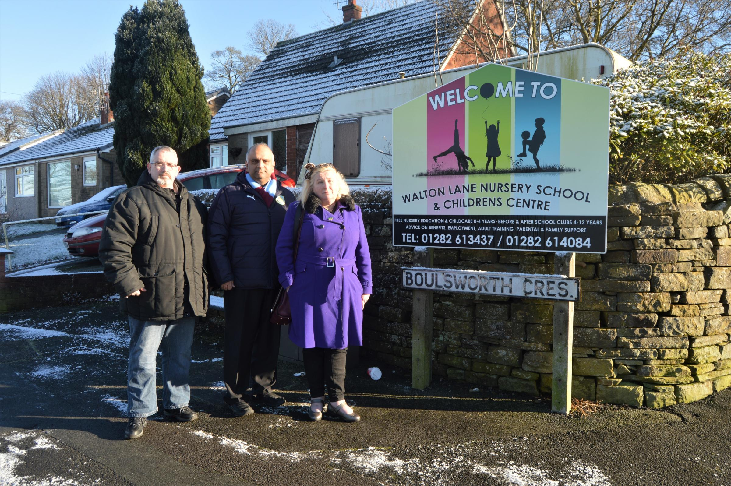 Cllr Azhar Ali with Pendle Labour councillor Wayne Blackburn (left) and campaigner Yvonne Tennant (right) outside Walton Lane Nursery