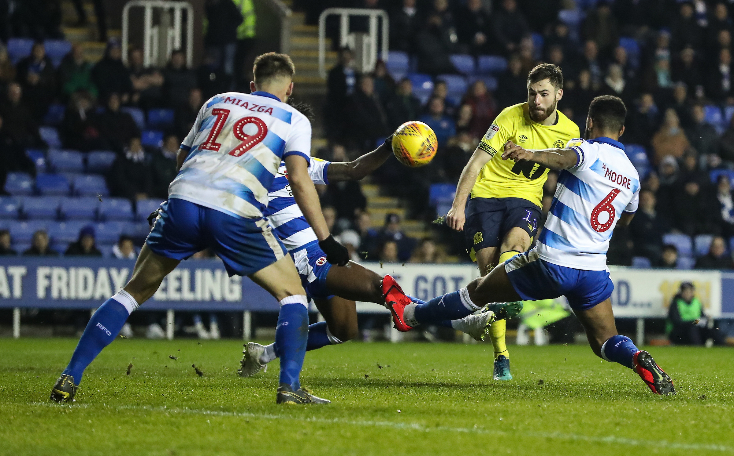 Ben Brereton had a good chance to equalise for Rovers at Reading