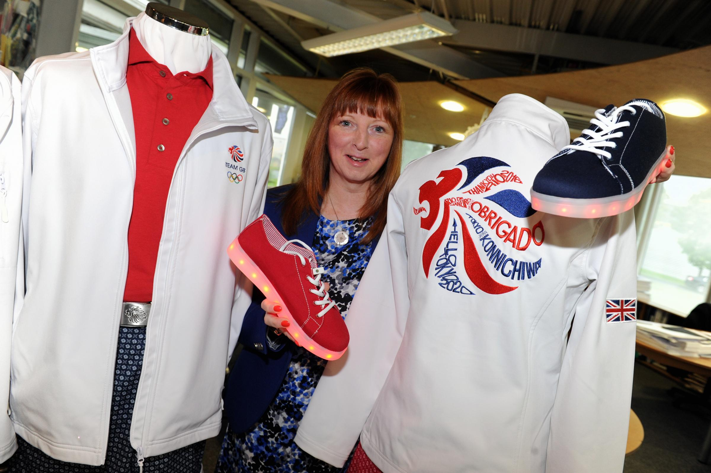 Helen Harker, design manager at Simon Jersey in Altham, with the kit the company has designed for the GB Olympics Team to wear at the closing ceremony in Rio, including loght-up trainers. Picture by Paul Heyes, Friday August 19, 2016..
