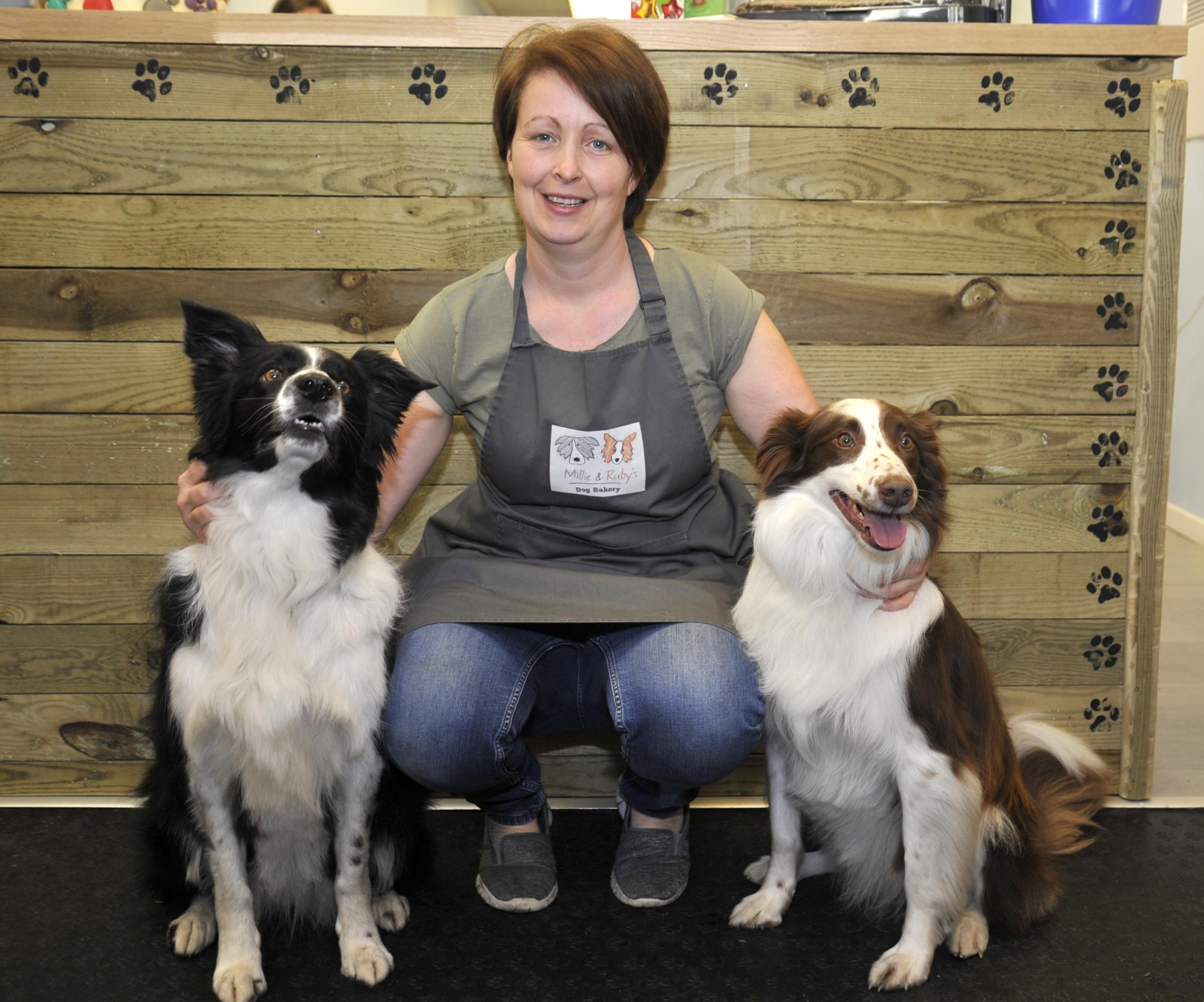 Diane Murphy with Millie and Ruby in her new shop Millie and Ruby's which has opened on Railway Road in Great Harwood.Picture- Donna Clifford 21/1/17.