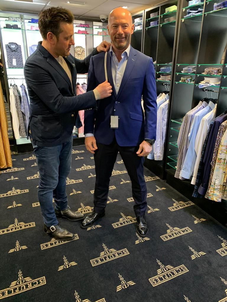 Ex-Rovers legend Alan Shearer gets measured up for his new suit