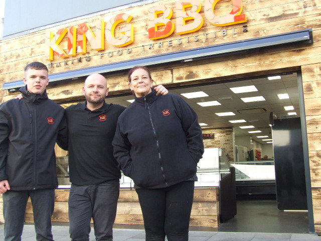 Jack Waring, Dan Flanagan and Melanie Porter, pictured outside the new King BBQ premises in King William Street, Blackburn