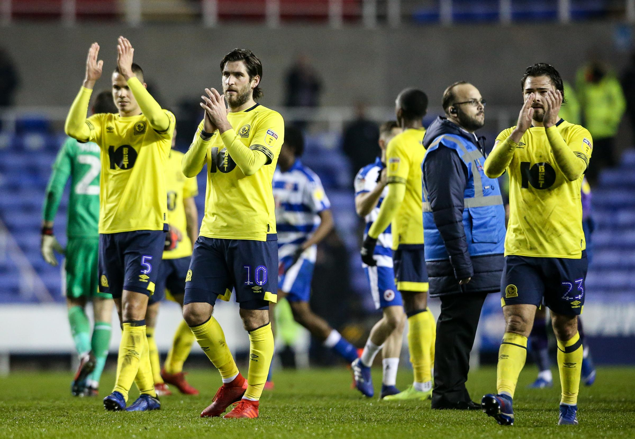 Blackburn Rovers' Jack Rodwell, Danny Graham and Bradley Dack applaud the fans at the end of the teams 2-1 away defeat to Reading. Photographer Andrew Kearns/CameraSport.