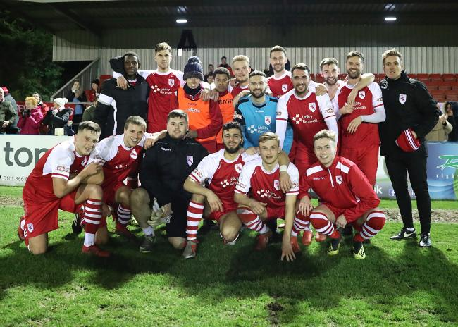 Colne celebrate their Lancashire Challenge Trophy semi-final win over Bamber Bridge Picture: KIPAX