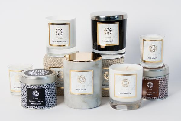 Some of Nuhr Home's scented candles range