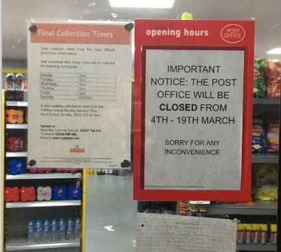 A notice of the post office closure inside Ramzan Foodstore, Padiham