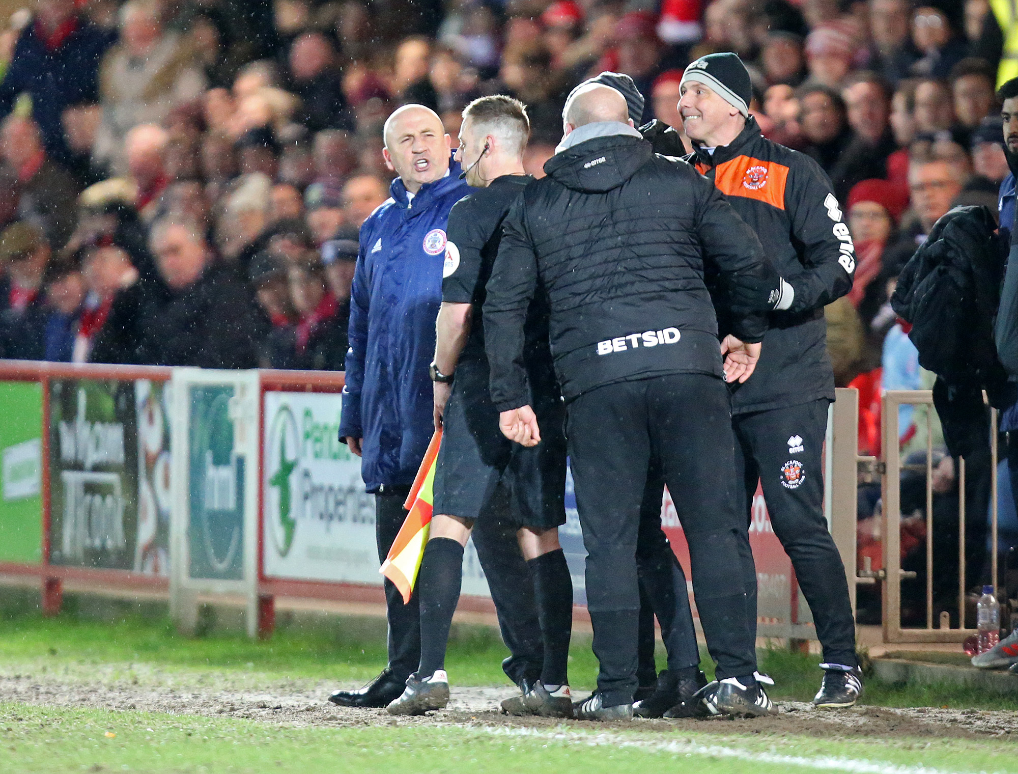John Coleman exchanges angry views with Blackpool's Gary Brabin