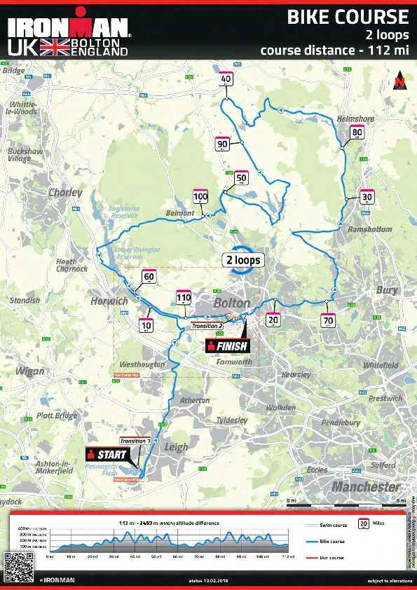 The map of the new Ironman route (above) and cyclists tackle the original one last year (left)