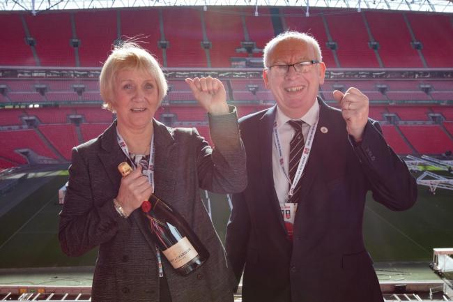 AFC Darwen's Club Secretary Elaine Littler with Commercial Manager Dr Mike Vizzard.