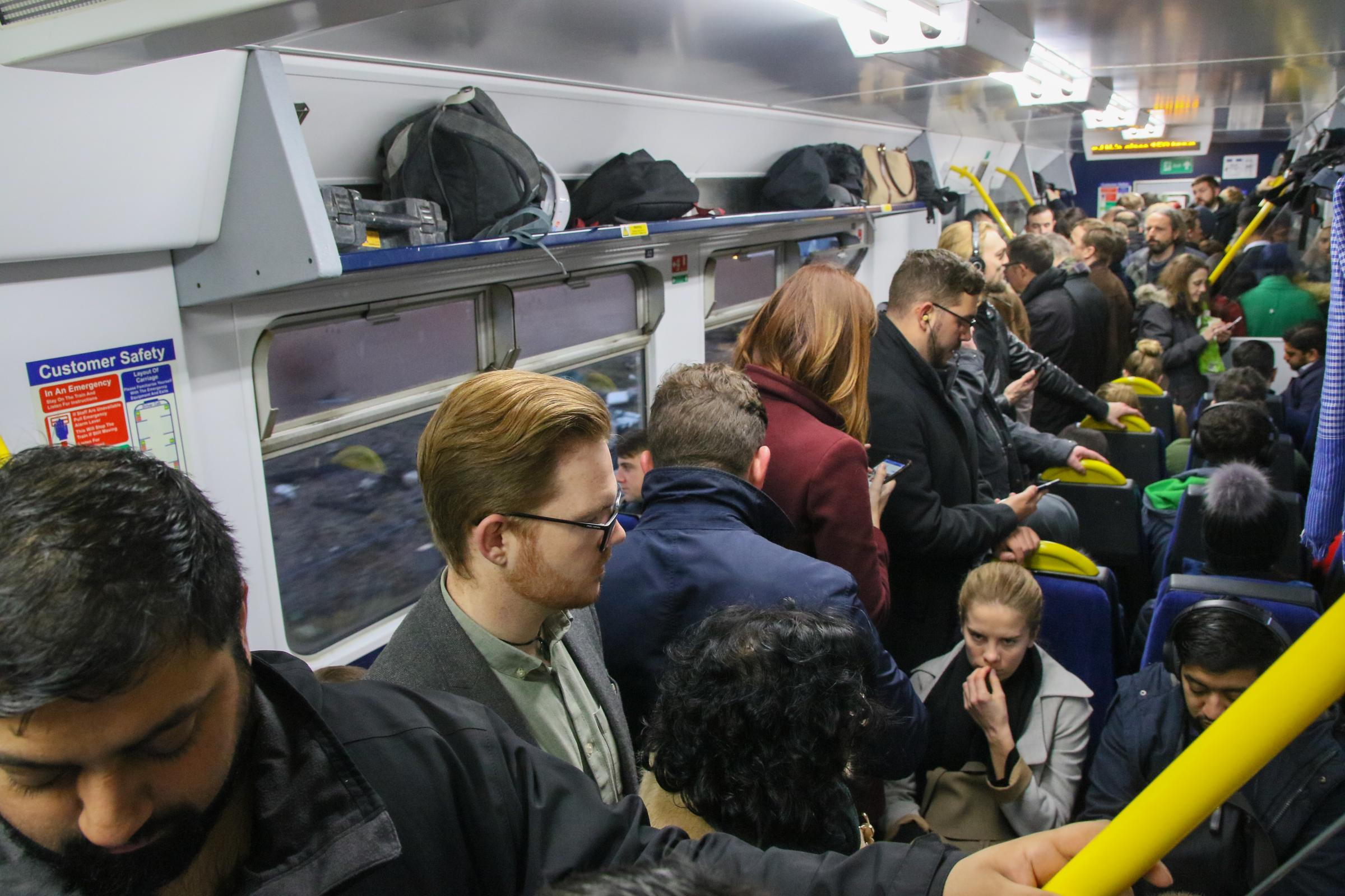 12 December 2018. Nanchester. Picture shows overcrowding on the 8:17 service from Bolton, Lancashire to Rochdale, Lancashire via Manchester Victoria operated by Northern Rail. On this occasion, a 2 carriage train was being operated, where a 4 carriage tra