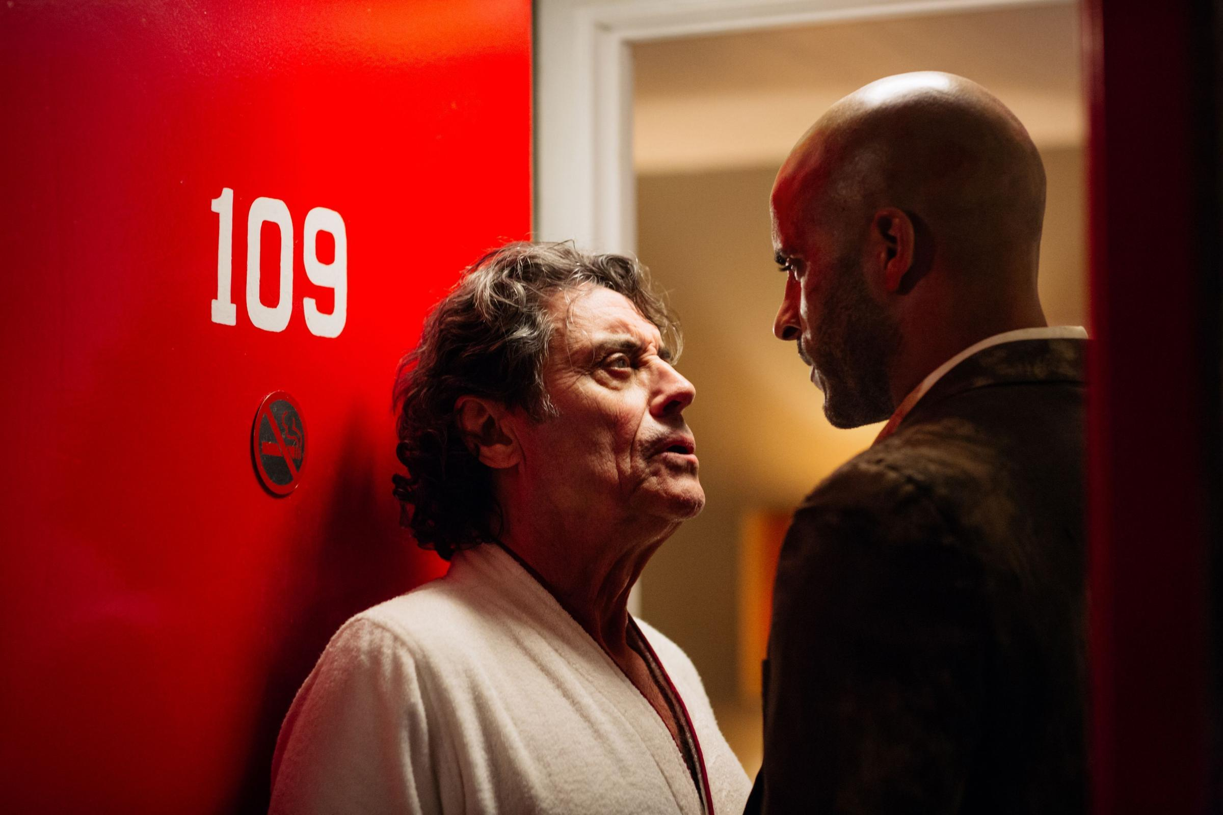 Undated Amazon Prime Handout Photo from American Gods. Pictured: Ricky Whittle as Shadow Moon and Ian McShane (Mr. Wednesday). See PA Feature TV McShane. Picture Credit should read: PA Photo/Amazon Prime. WARNING: This picture must only be used to accompa