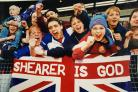 Blackburn Rovers fans cheer on Alan Shearer during the Premiership Party at Ewood in May 1995