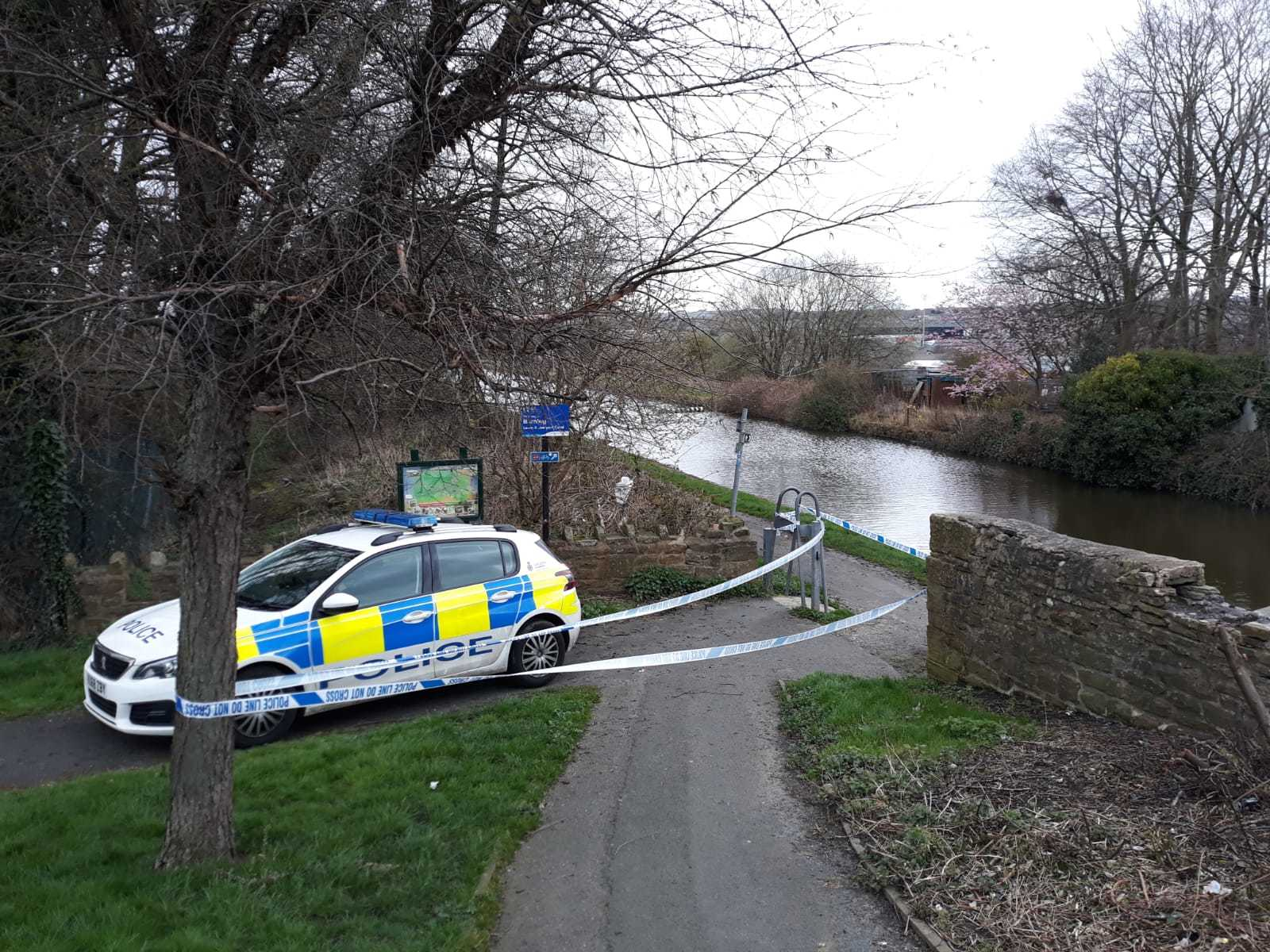 Police cordon off canal towpath near Finsley Gate, Burnley