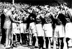 ROYAL DATE: The Burnley team meet the Duke of Gloucester before the 1947 FA Cup against Charlton