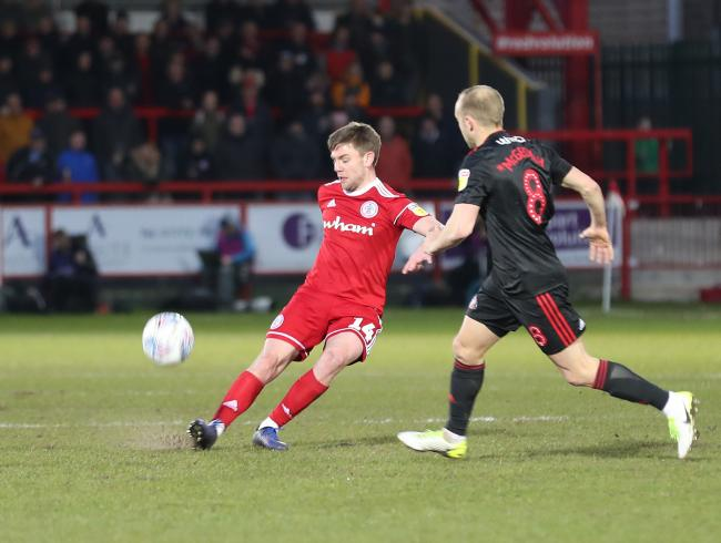 Sam Finley in action as Stanley lost against Sunderland