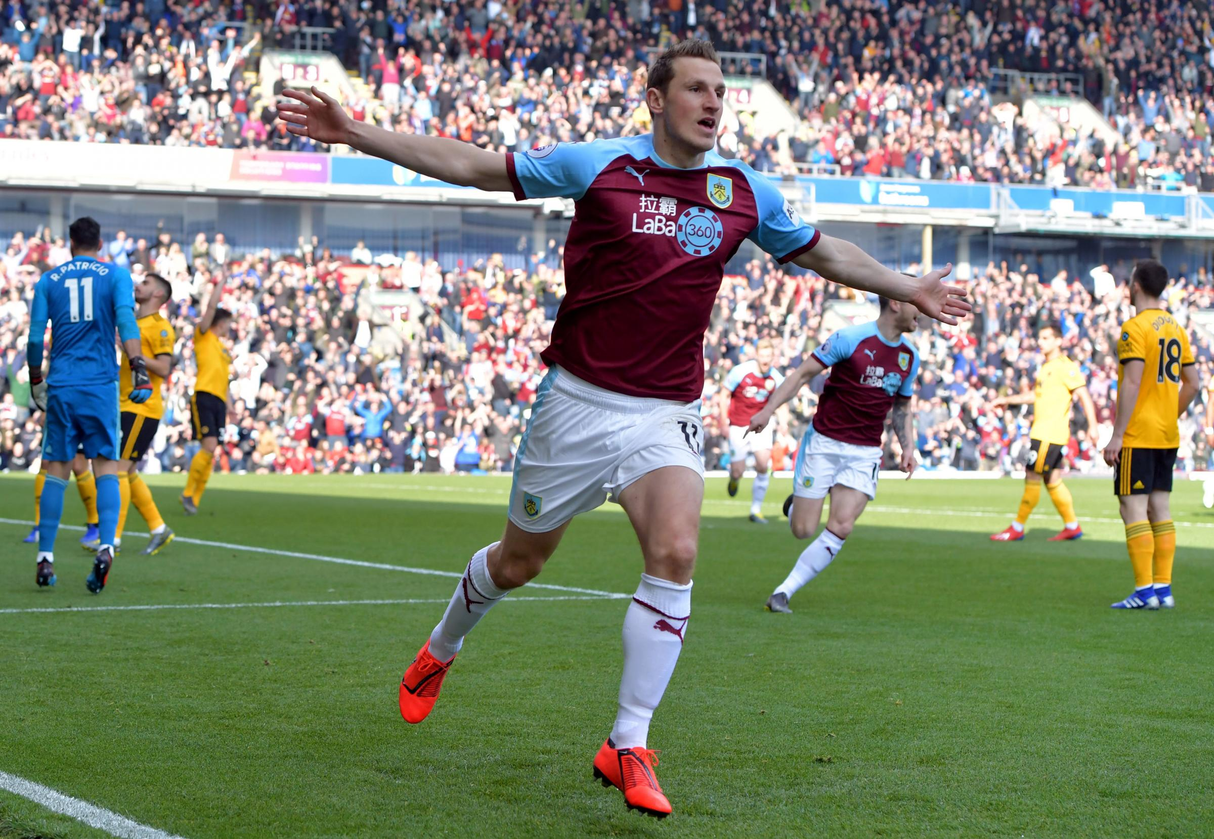 Burnley striker Chris Wood celebrates the opening goal against Wolves last weekend