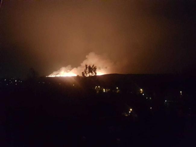 Two large fires rbroke out at the Bacup Moor last night. Picture by Tony Ikswoktur