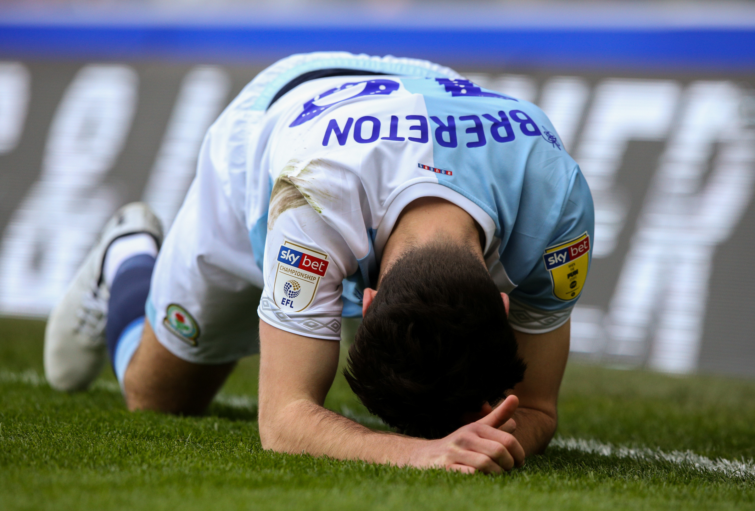 Ben Brereton shows his disappointment during Rovers' defeat to Stoke City