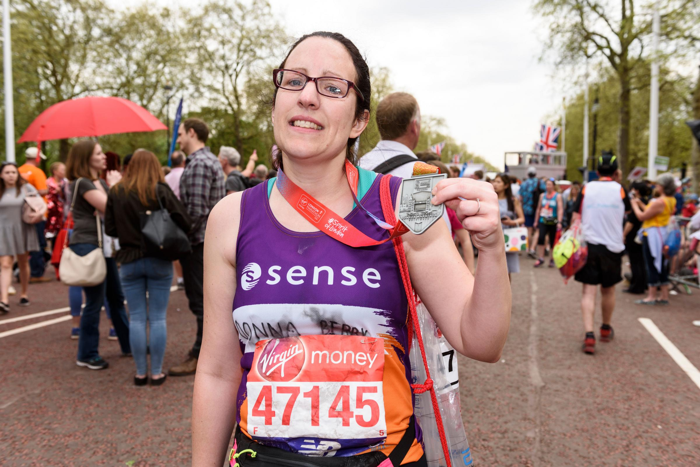 Donna Bibby, from Whalley, at last year's London Marathon