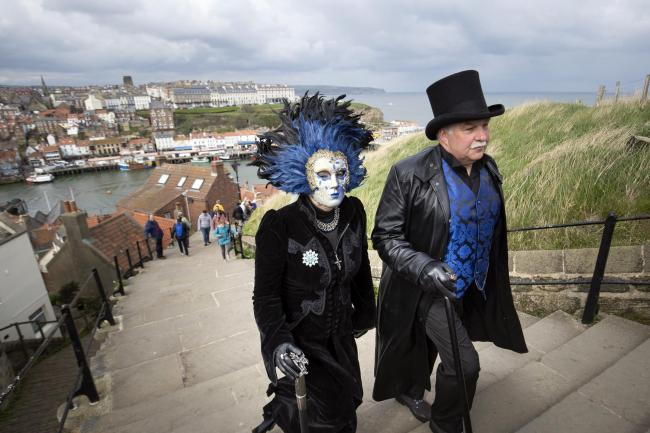People attend the Whitby Goth Weekend