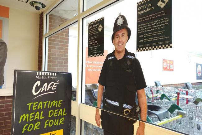 This cardboard cutout police officer in Morrisons is offering £500 to catch shoplifters