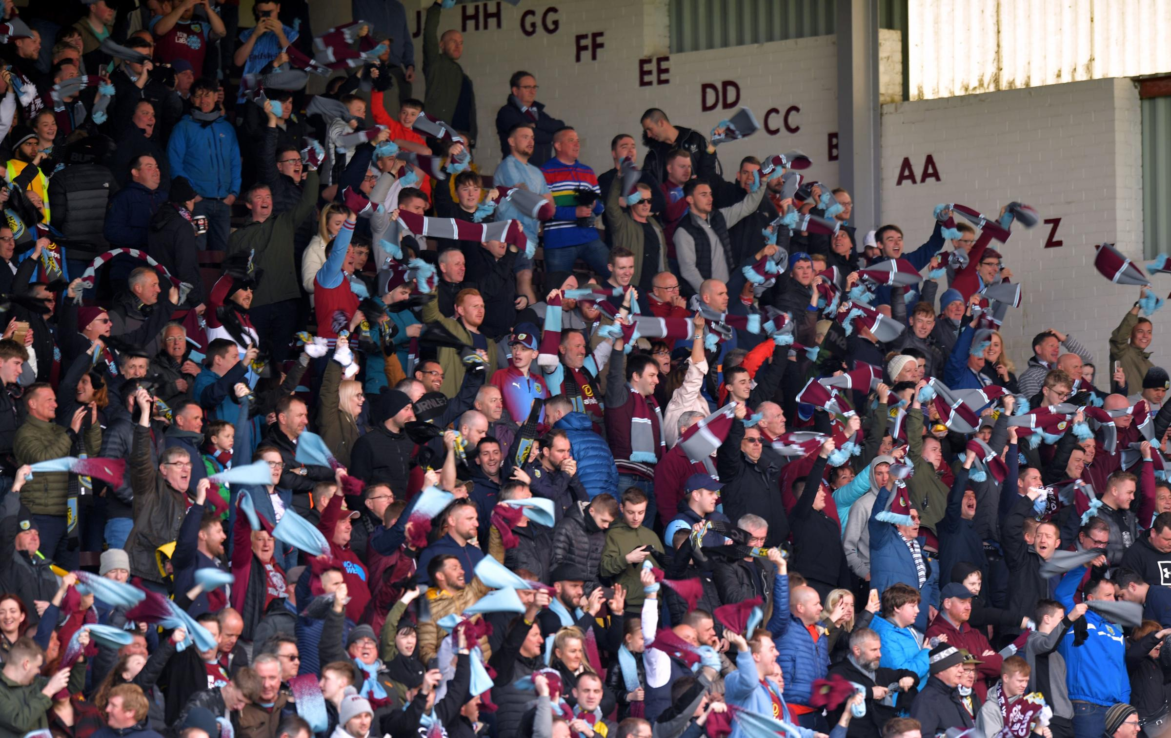 Burnley fans enjoy the win over Cardiff