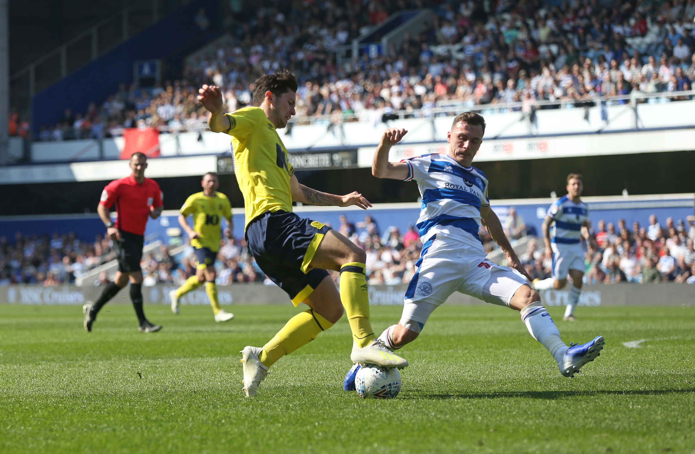 Lewis  Travis is fouled for the penalty from which Danny Graham put Rovers ahead