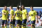 The Rovers players celebrate Danny Graham's opening goal