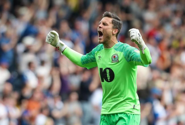 Jayson Leutwiler celebrates during Rovers' win over Bolton at Ewood Park