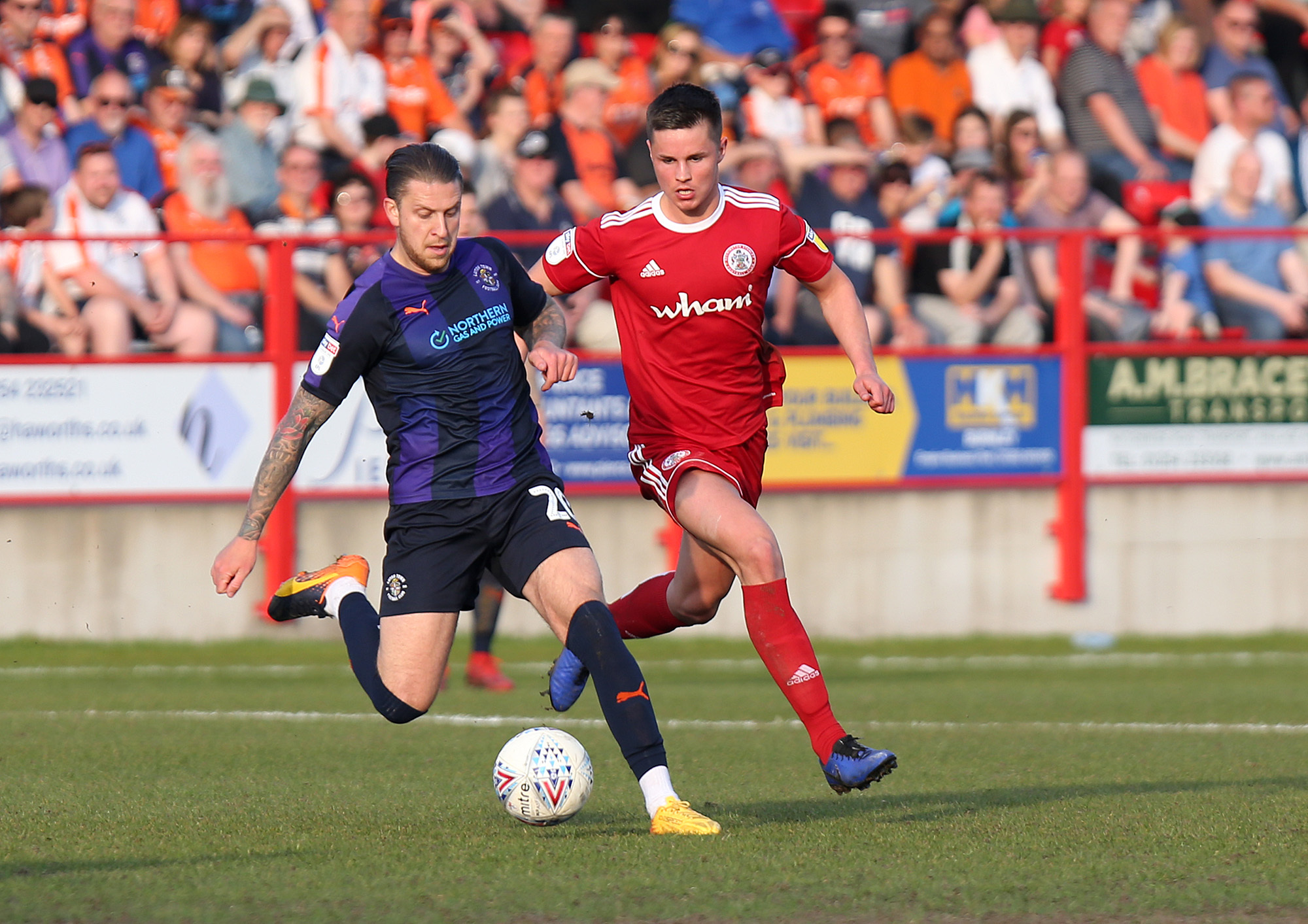 Callum Johnson in action against Luton where Stanley had to battle with 10 men. Picture: KIPAX