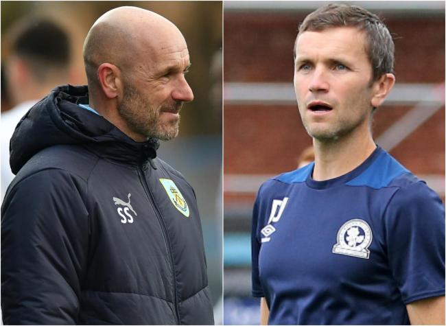 Burnley Under-23s boss Steve Stone with Rovers counterpart Damien Johnson