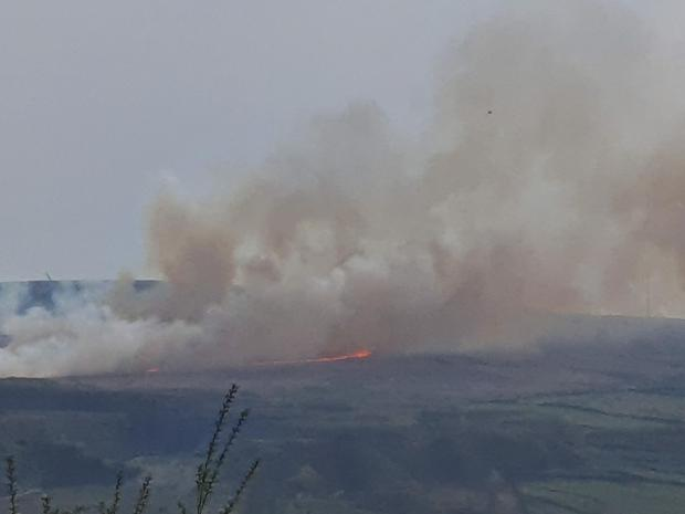 Lancashire Telegraph: Moorland fire near Lee Quarry. Picture by James Hagans