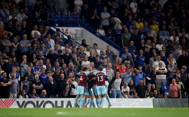 Burnley's Ashley Barnes celebrates scoring his side's second goal of the game at Chelsea