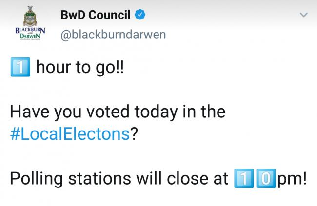 BwD Council social media gaffe as 'Twitter bot' gets election timings all wrong