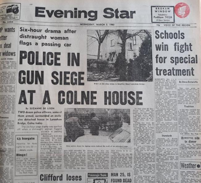 Police in gun seige at Colne house - March 5 1980