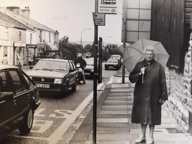 Mrs Maggie Ashton petitions for a bus shelter in 1989