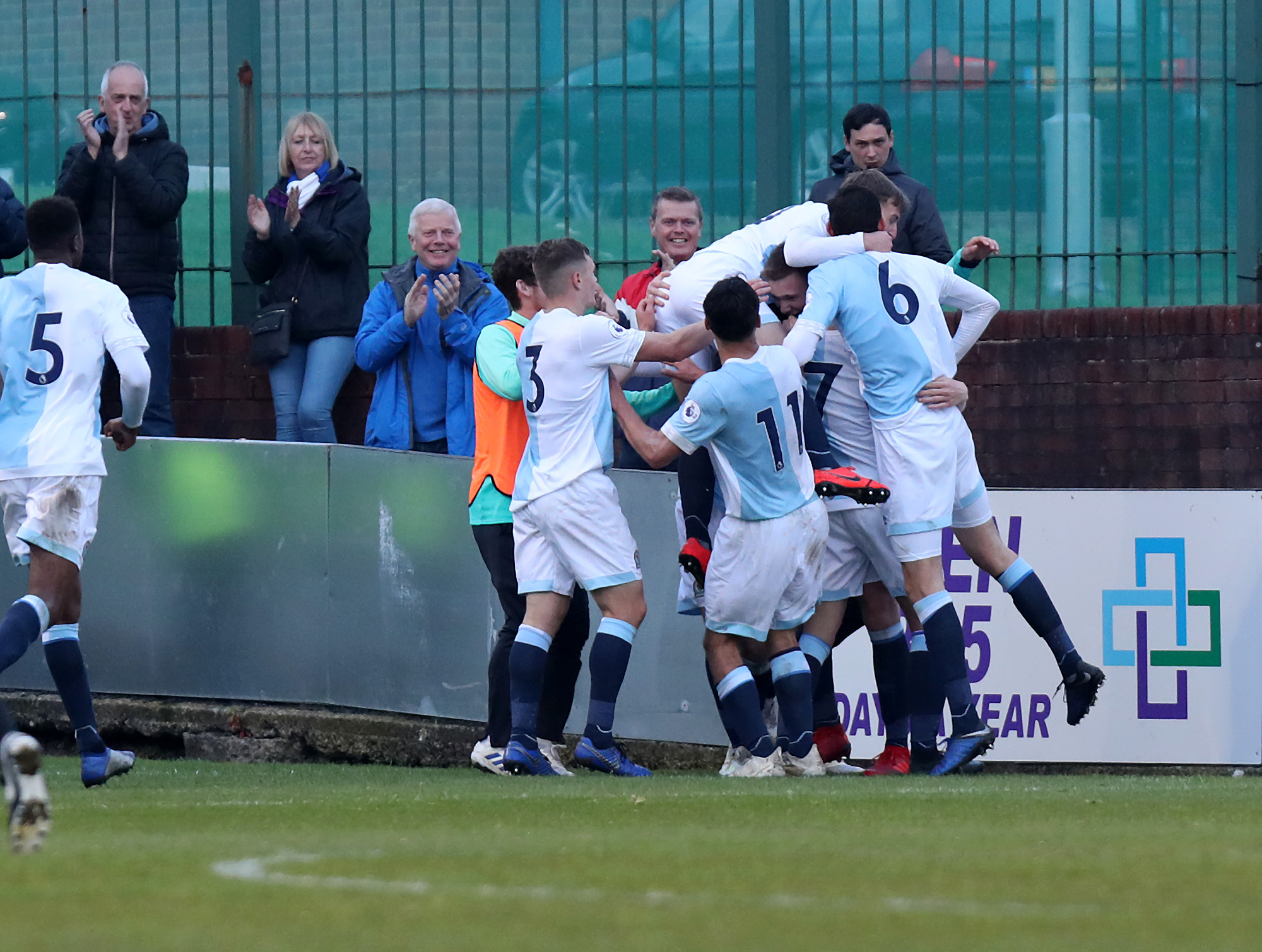 Rovers celebrate during their Lancashire Senior Cup win over Burnley