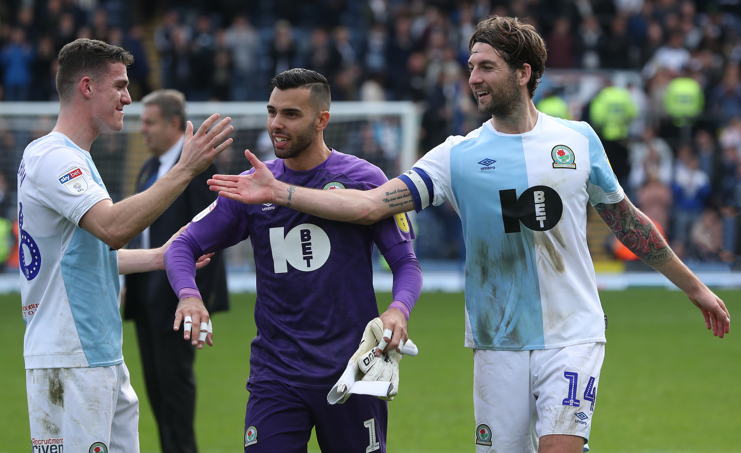 Rovers goalkeeper David Raya with defenders Darragh Lenihan and Charlie Mulgrew