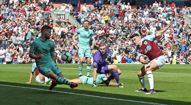 Matt Lowton goes for goal in Burnley's defeat to Arsenal