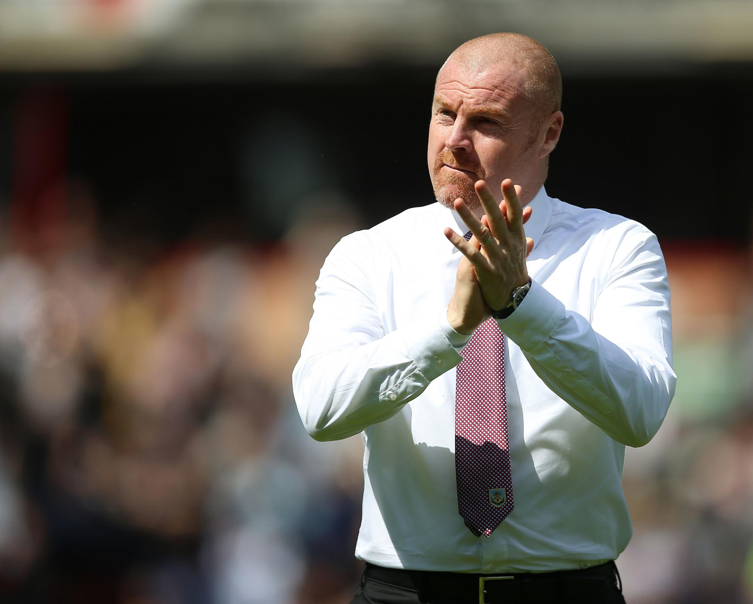 Sean Dyche salutes the Burnley fans at Turf Moor on Sunday