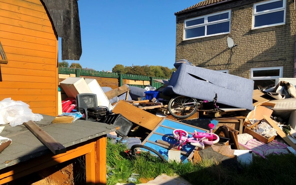 Rubbish outside Nicholas Turner's home in Springfield Avenue, Bacup