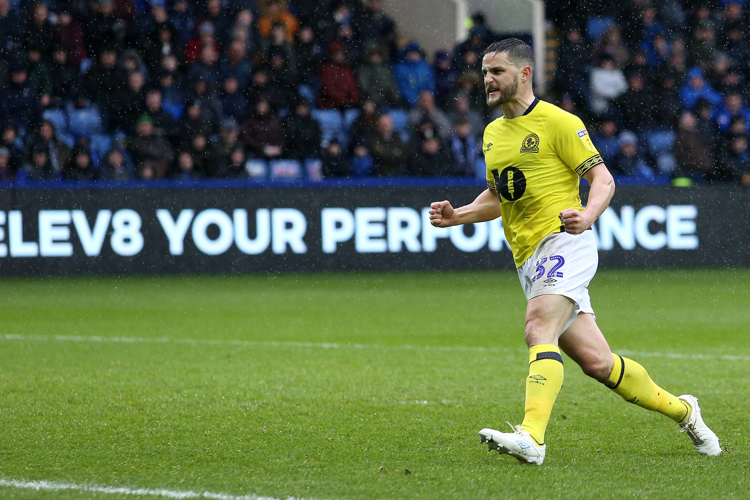 Craig Conway celebrates his goal at Sheffield Wednesday in March