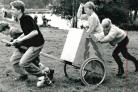 Helen Ibbotson, 13, Bobby Ibbotson, 10, Jonathan Shutt, 15 and John Powell 15 with their chariot in the Woodlands Scout Group, Blackburn, at the Bowley Camp in September 1990