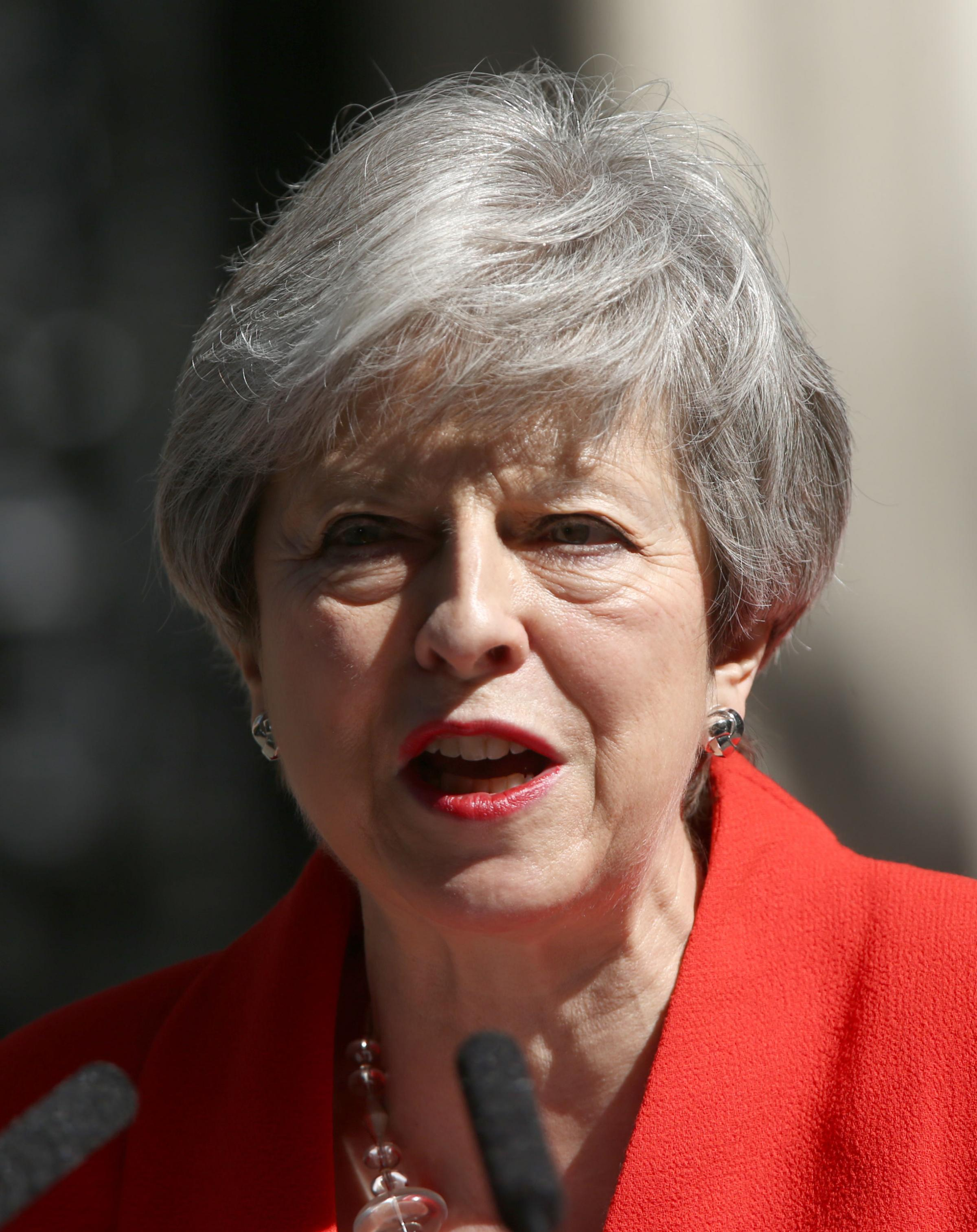 Prime Minister Theresa May makes a statement outside at 10 Downing Street in London, where she announced she is standing down as Tory party leader on Friday June 7. PRESS ASSOCIATION Photo. Picture date: Friday May 24, 2019. See PA story POLITICS Brexit.