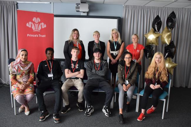 NEET students with members of staff from Nelson and Colne College and the Prince's Trust at a certificate presentation event.