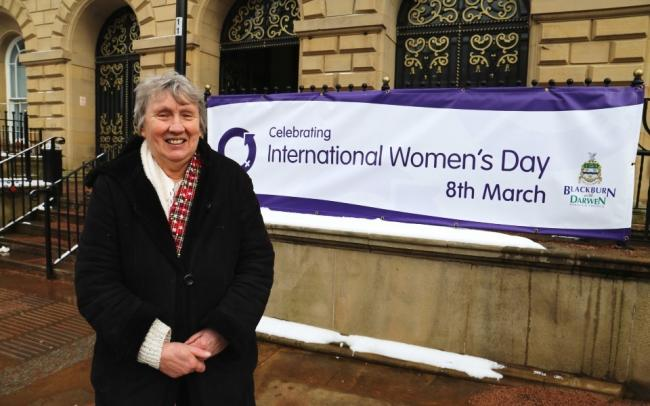 Cllr Maureen Bateson supporting International Women's Day outside Blackburn Town Hall