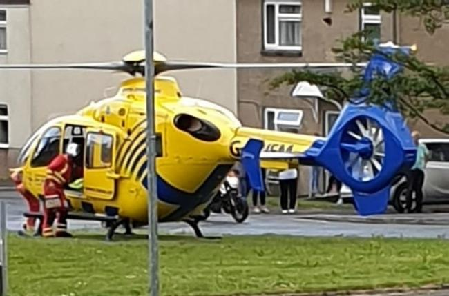 An air ambulance at the scene in Clarence Street, Burnley