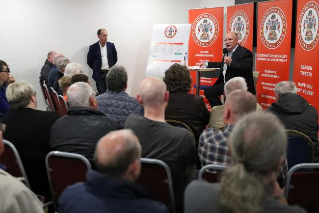 Andy Holt held a Q&A with Reds supporters at the Wham Stadium. Pic: KIPAX